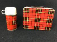 VINTAGE ORIGINAL 1964 KING SEELEY RED PLAID METAL LUNCHBOX W/MATCHING THERMOS