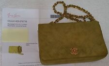 Authentic Chanel Suede Small Apple Green handbag