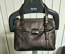 Francesco Biasia Metallic Dark Chocolate Satchel Handbag DESIGNER
