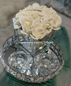 CRYSTAL GIFT SET-Roses In Mirror Cube, 2xCandle Holder, 21cm Crush Diamond Tray