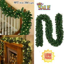 9FT Pre Lit Christmas Garland  with Lights Fairy Pine Xmas Fireplace Home Decor
