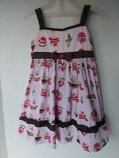 Blueber Boulevard Little Girls Dress Size 4T Pink & Brown with Desserts