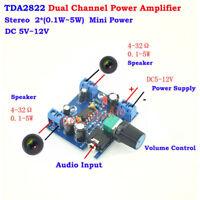DC5V-12V TDA2822 Dual Channel Stereo Mini Audio Power Amplifier Board AMP Module