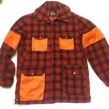 VTG Woolrich Red Buffalo Plaid Wool Quilted Hunting Jacket w/Orange Size 38?