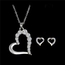 Women Ladies Heart Necklace & Earring Set Silver /White Gold Plated Mother Gift