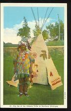 """Michigan, """"Big Joe"""" of the Ottawa Tribe (unmailed Linen (indiansA53"""