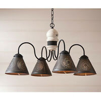 Cambridge Four-arm Wooden Chandelier Light with Tin Shades in Vintage White