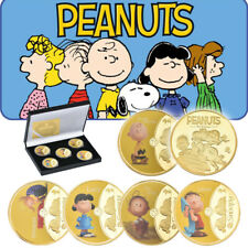 5pcs Peanuts Charlie Brown Snoopy Lucy Gold Commemorative Coin With Gift Box