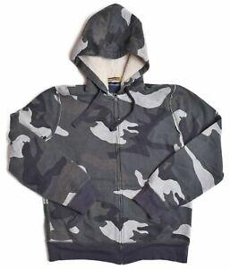Nautica Mens Gray Camo Griffin Bay Zip Up Sherpa Lined Hood Hoodie Jacket Medium