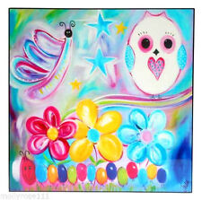 Colorful Child Toddler Owl Lacquered Wall Art Picture Print Home Decor