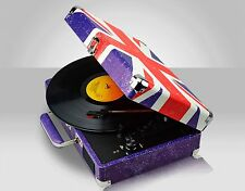 Retro Union Jack Portable Briefcase Vinyl Turntable Record Player Twin Speakers