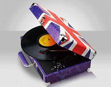Retro Union Jack Portable Briefcase Vinyl Turntable Record Player Twin Speakers