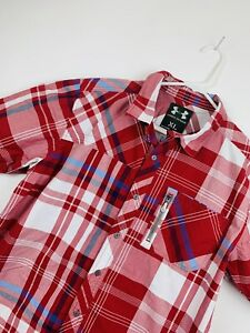 Men's Under Armour Fishing Plaid Short Sleeve Button-Front Shirt Red XL