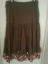 New Directions Brown Size Large ~Layered Skirt With Copper Sequins