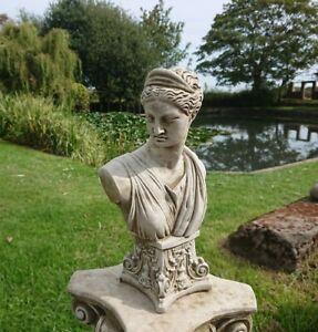 🇬🇧 STONE GARDEN ATHENA LADY BUST - GREEK GODDESS WOMAN STATUE HEAD ORNAMENT