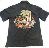 Disney Mickey Mouse in Paradise Mens Black Hawaiian SS Camp Shirt Size Small