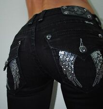MISS ME BUCKLE JEGGING SKINNY BLACK ANGEL WING JYS082G23 DENIM JEANS 0 25 X 31