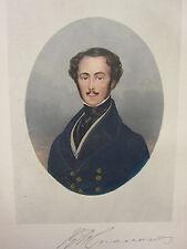 1892 Hand Farbiger Druck ~ Porträt von Captain Gronow