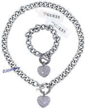 GUESS Schmuck Set Halskette & Armband Silber Edelstahl Herz Strass Beauty