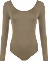 Womens Ladies Scoop Neck Bodysuit Long Sleeve Leotard Plain Stretch Basic Top