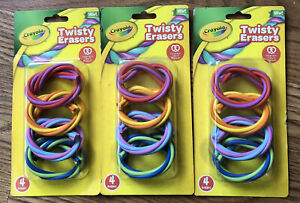 LOT 0f 3 Crayola Cool Twisty Erasers Multi Color 3 pack of 4pc