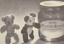 Vintage Knitting PATTERN to make Tiny Teddy Panda Bear Miniature Figure Soft Toy