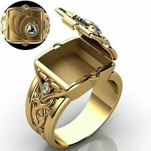Exquisite Men Ring Gold Plated Secret Compartment Poison Box Jewellery Party