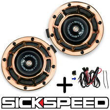 SICKSPEED 2PC ROSE GOLD SUPER LOUD GRILLE MOUNT BLAST TONE HORN W HARNESS P26