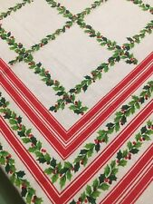 Vtg Mid Century Cotton 52x64 Christmas Tablecloth Holly & Berries Checkerboard