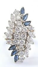 Fine Gem Blue Sapphire & Diamond Yellow Gold BIG Cluster Ring 3.72Ct
