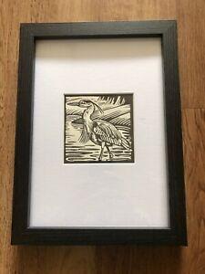 'Grey Heron' - Framed & Mounted Bird Illustration by Richard Allen