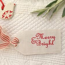 MERRY & BRIGHT Linen Label Christmas Decoration Susie Watson Red Piping Stripe