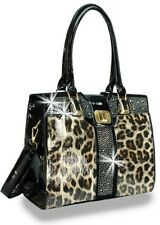 Rhinestone Accent Twist Lock Patent Fashion Handbag Leopard Julia and Michael