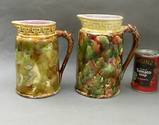 2 ~ C19th Majolica Pottery Jugs ~ Mottled with Snake Handle / Antique Pitcher