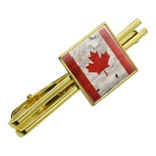 Rustic Distressed Canada Flag on Wood Square Tie Bar Clip Clasp Silver or Gold