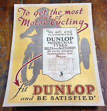 Dunlop Brand Motorcycle Tires Price Sheet Paper Advertising Poster Window Sign