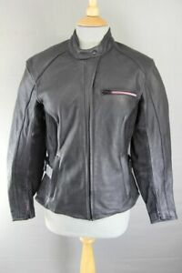 HEIN GERICKE BLACK LEATHER & SUEDE BIKER JACKET WITH HIPROTEC CE ARMOUR: SIZE 8