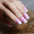 Pink Ombre Square Medium Press On Nails Fake False Nail Set Kit Glue Pink