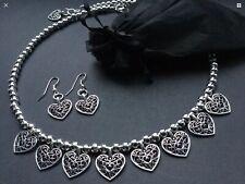 HEART choker necklace And FREE HEART EARRINGS tibetan silver style vintage Boho