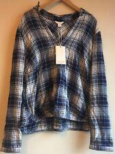 BNWT New Monsoon Blue Cadenca Check-Print Wrap Shirt UK 18 Elasticated Hem