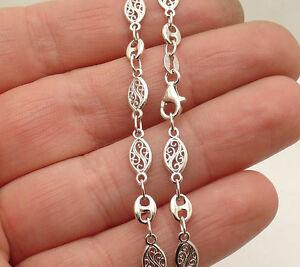 Filigree & Gucci Mariner Anklet Ankle Bracelet Real Solid Sterling Silver 925