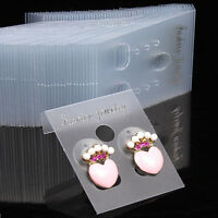 100X.Clear Professional.Type Plastic Earring Ear Studs Holder Display Hang Cards