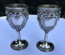 "Early 19c Antique CHINESE EXPORT SILVER Repousse 6.5"" Goblets Three Signatures"