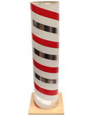 """Vintage Fireworks tube with base 17 3/4"""" tall Red White Silver"""