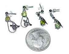 Peridot Dangle Earrings Two Pairs of Silver Plated Dainty Floral Post USA