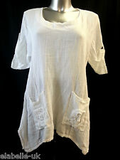 Ladies Italian Style Quirky Lagenlook Tunic Linen Top Flower Design Pockets