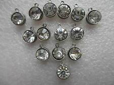 50 X 6mm Diamantes De Cristal Tallado Redondo Colgantes Charms Joyería Manualidades Hacer