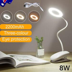 Adjustable LED Desk Lamp USB Rechargeable Flexible Clip On Reading Study Light.