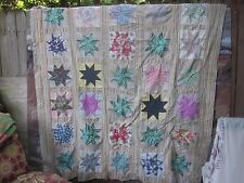 "C. 1940's stunning ""Star"" antique quilt TOP (30 stars), twin or double, S.C."