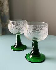 More details for vintage x2 etched german hock wine glasses green beehive stem – perfect 1970s